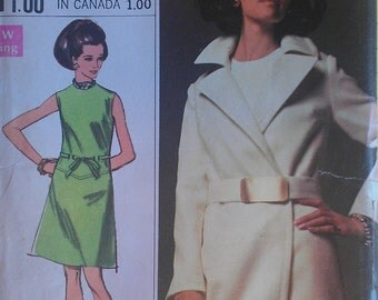 Vintage 60s Mod A Line Geometric Shift Dress Spy Wrap Coat Designer Fashion Sewing Pattern 8096 B38