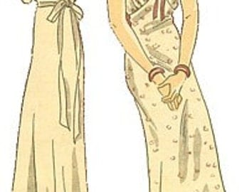 Vintage 30s Basque Waistline Cap Sleeve Lacy Nightgown Gown Negligee Sewing Pattern 1035  B36