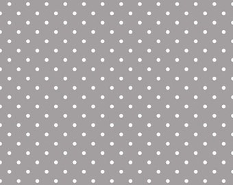 Riley Blake Designs, White Swiss Dot on Gray  (C670 40) - cut options available