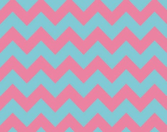 Clearance SALE!!!  RBD, Medium Chevron T/T Aqua/Hot Pink (C380 08) - 1 yard