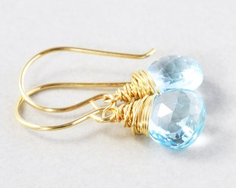 Blue Topaz Dangle Earrings, Blue Drop Earrings, December Birthstone