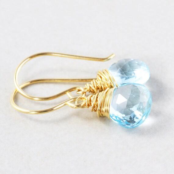 Blue Topaz Dangle Earrings, Blue Drop Earrings, December Birthstone