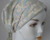 Cream Aqua Paisley Chemo Cancer Hair Loss Scarf Turban Hat Bad Hair Day Headcover Hairwrap