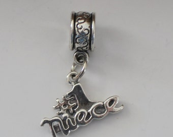 Sterling No. 1 NIECE  Bead Charm for  all Name Brand Add a Bead Charm Bracelest