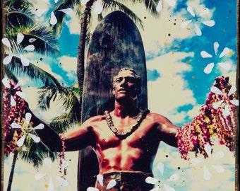 DUKE, Best Seller, 8x10, 11x14, 16x20, Hand Signed Matted Print, Hand Signed, Waikiki, Orchids, Aloha, Duke Paoa Kahanamoku, Oahu, Leis