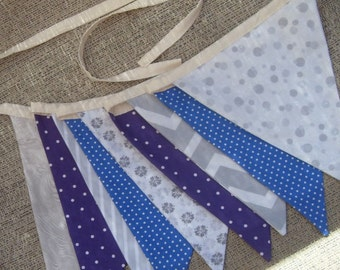 Ready to ship Purple blue and gray fabric flag banner teacher classroom nursery party outdoor bunting  polka dot