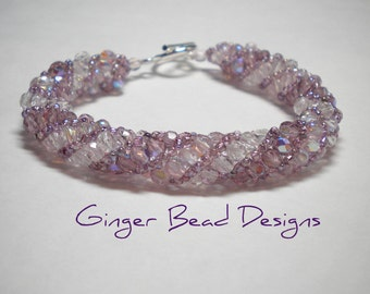 Lavender and Amethyst Fire Polished Bead Russian Spiral Bracelet