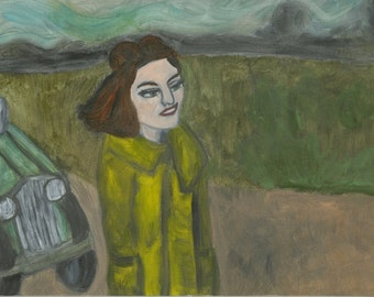 Ella goes for a drive.  Original oil painting by Vivienne Strauss.