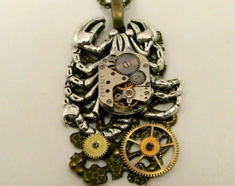 Steampunk necklace. Steampunk crab pendant.
