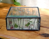 V I N T A G E glass box fused glass, handmade, etched glass, floral, clear decorative box, signed, stained glass