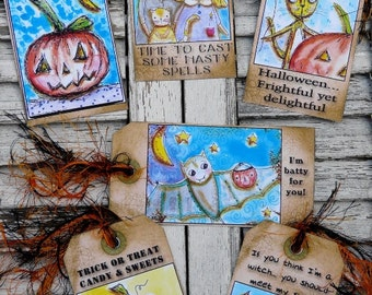 2013 Halloween Tags witch pumpkin pdf - Collage Paper Sheet NEW art vintage saying sayings prim atc scrapbooking primitive