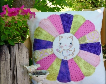Kitty Cat Dresden embroidery Pattern PDF - pillow plate stitchery