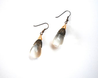 long earrings 1980s glass teardrop and brass filigree dangling earrings upcycled beads one of a kind evening wear costume jewelry