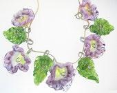 Handmade Glass Lampwork Drop Flower Bead Set 5 Pink Flowers 4 Leaves