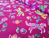 Vintage Abstract Horse Fabric Yardage in Orchid Purple