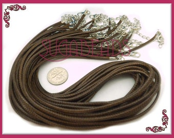 10 Chocolate Brown Finished Necklace Cords 18.5 inches long, Brown Cords, Cord Necklaces