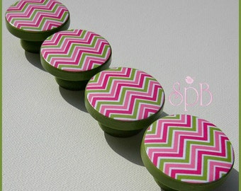 Chevron Knobs • Dresser Drawer Knobs • Hot Pink • Green • Pink • Chevron • Drawer Pulls • Chevron Pulls