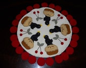 Wool Penny Mat with Crows and Cherries--Handmade