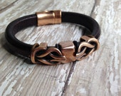 Knotty Copper - Brown Leather Bracelet W Copper Magnet Clasp Man or Woman