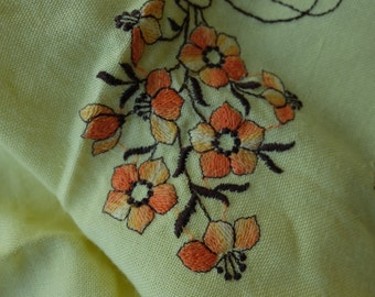 pretty tablecloth yellow 1970s  tea party floral embroided