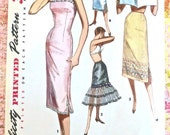Vintage 1950s Womens Slip Pattern - Half, Ruffled Half, and Full - Simplicity 1554