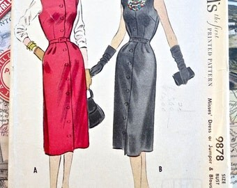 Vintage 1950s Womens Dress, Blouse Pattern with Scarf - McCalls 9878