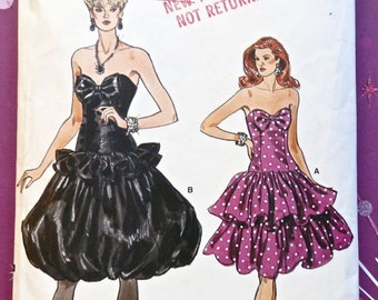 Vintage 1980s Womens Strapless Dress Pattern with Dropped Waist and Two Full Skirts  -Vogue 9893