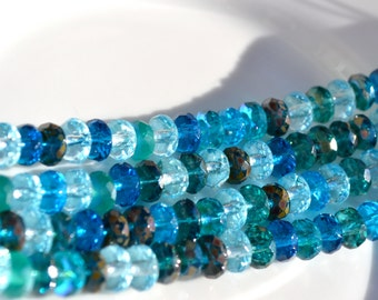 Medley of Blues Faceted Czech GLass Rondelle Beads   25