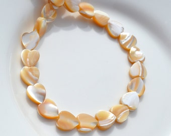 Natural Mother of Pearl Heart Beads   8