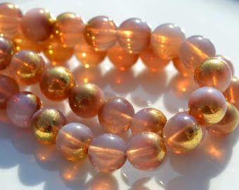 Milky Pink and GOld 10mm Round Beads  25