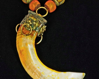 Vintage African Safari  Boar's Tusk, Lions' Heads & Nepali Beads
