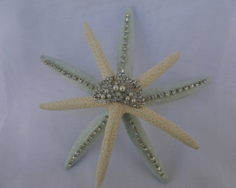 "6""  Wedding decor-Hand made Blue and White Pencil Starfish Ornament"