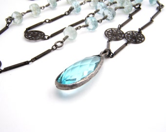 Aquamarine Pendant Chain Necklace, Aqua Blue, Black, March Birthstone, Long Necklace