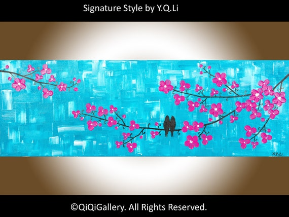 "Original Acrylic Landscape Painting Blossom tree abstract Birds Wall Art ""Allure of Spring"" by QIQIGALLERY"