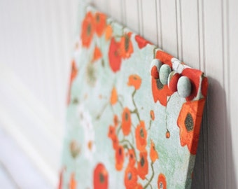 Magnetic Bulletin Board, Note Board, Magnet Board, for office organization 12inx12in No Frame - Poppies on Greenish Gray