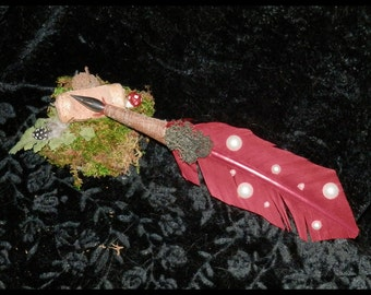 TOADSTOOL Quill SET with MOSS and Cork Pen Rest Handmade Amanita