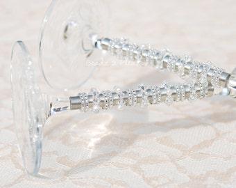 Elegant Crystal Champagne Flute, SWAROVSKI Wedding Flute Glass,  Pearl Table Settings, Beaded Couture Stemware
