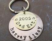 Dad Est Keychain - Personalized Grandpa Dad Keychain -Father Dad Papa - Hand-Stamped Custom Names -  K50