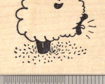 Bleating Lamb Rubber Stamp, Suffolk Sheep E24211 Wood Mounted