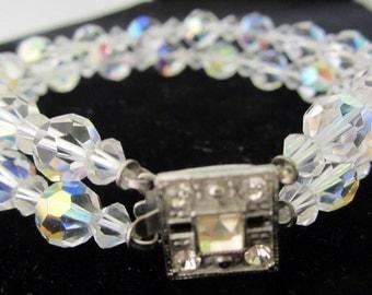 Aurora Borealis Crystal Double Strand Bracelet Vintage Wedding