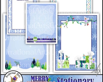 Christmas Stationary - 5 jpg files for DIY printing letterhead papers Newsletter Digital Frame {Instant Download}