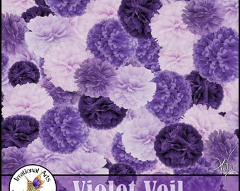 INSTANT DOWNLOAD Violet Veil set 2 Digital Scrapbooking Papers 12 jpg files toile damask houndstooth harlequin plaid flowers chevron