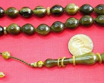 Prayer Worry  Beads Tesbih SANDALOUS Turkish Amber Catalin - SUPERIOR CARVING