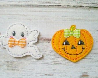 Ghost and Pumpkin Appliques, Machine Embroidered Halloween Appliques, Halloween Appliques, Ghost Felt Appliques, Halloween Felties