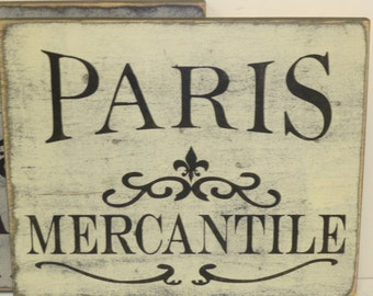 PARIS MERCANTILE SIGN / Paris sign / Mercantile sign  / French mercantile / hand painted sign / Paris wall sign / Paris apartment chic /