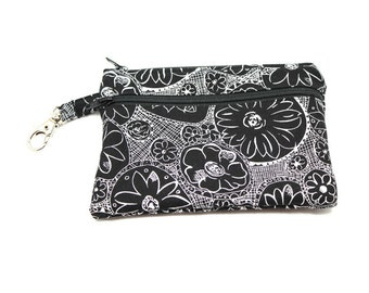 Larger Zippered Wallet Change Purse Gadget Case Black and White Dahlias