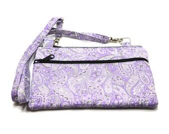 iPad  Mini Case, Kindle Case, Cross Body Bag, Adjustable Strap, Fits eReaders, Lavender Paisley