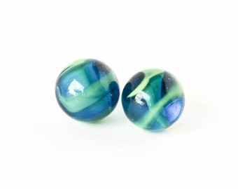 Capri blue and green glass cats eye marble post earrings