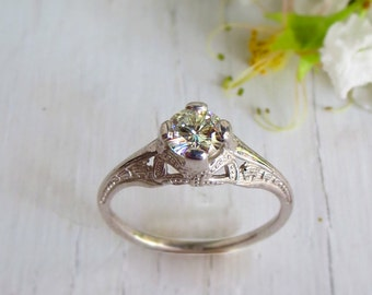 White Gold Engagement Ring Custom, Art Deco Ribbon and Bow C&S