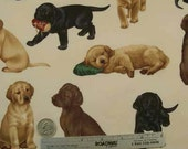 LABRADOR RETRIEVER Puppies Dog Labs Dogs Quilt Fabric - RARE and Out of Print - by the Half Yard